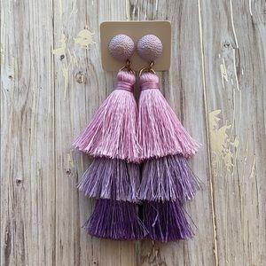 Lilac Tiered Tassel Drop Earrings
